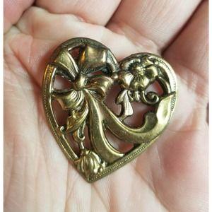 Vintage Button Pin Pinback Heart Ribbon Bow Flower